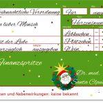 Finanzspritze, Rezept und Beipackzettel Weihnachten