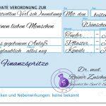 Finanzspritze, Rezept und Beipackzettel blau