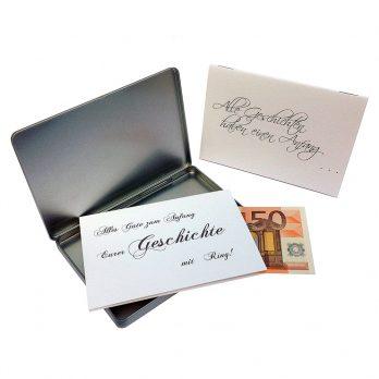 Geldgeschenk Hochzeit Geschichtenbuch klein in silber Metalldose
